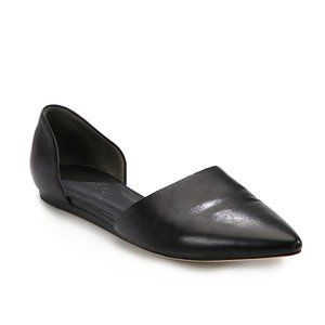 Vince Nina Leather Pointed Toe d'Orsay Flat Black